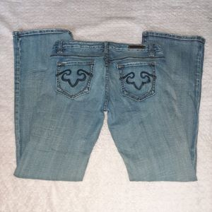 Rerock For Express Distressed bootcut jeans 10R